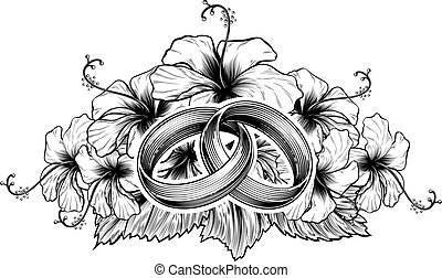 Wedding Rings and Hibiscus Flowers - A pair of intertwined...