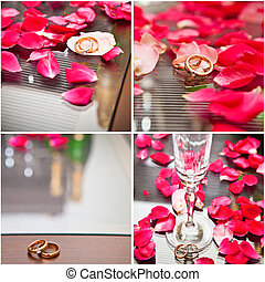 wedding rings and rose petals collage