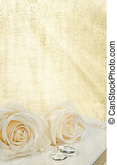wedding rings and roses - Wedding roses and rings on Bible.