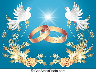 Wedding rings and two doves - Card with wedding rings and ...