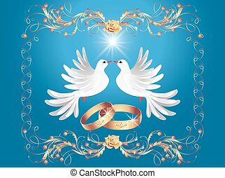 Wedding rings and two doves
