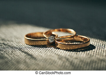 Wedding rings are on the table