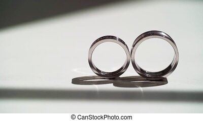 Wedding rings at white background