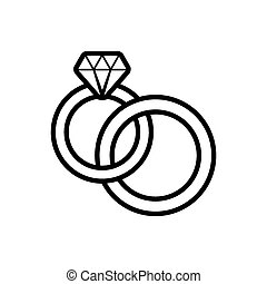 Wedding rings - Black vector wedding rings outline icon on...