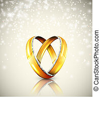 Wedding rings - Two wedding rings in shape of heart. Eps 10