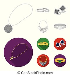 Jewelry monochrome freehand icons set with