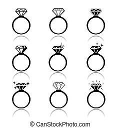 Wedding rings vector icon. Wedding invitation. Jewelry