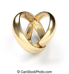 Wedding rings - Gold wedding rings engraved with the text ...