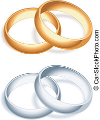Golden and silver wedding rings.
