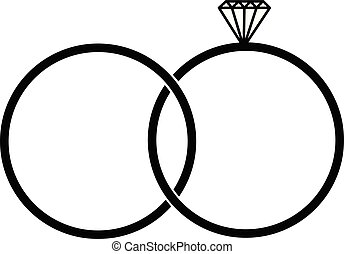 wedding rings icon. Element of life married people
