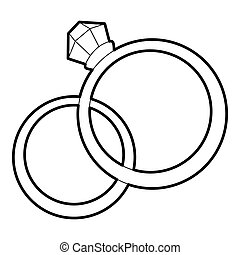 Wedding rings icon, outline style