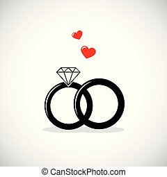 wedding rings icon with red heart