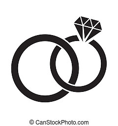 Wedding rings - Vector black wedding rings icon on white...