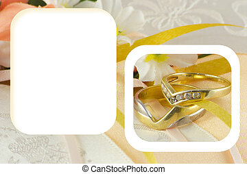wedding rings in a frame with write space