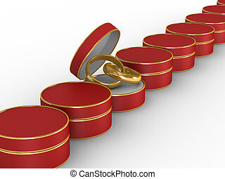 Wedding rings in gift packing. Isolated 3D image