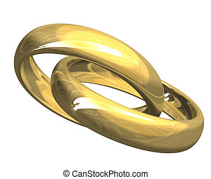 wedding rings in gold (3D)