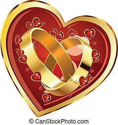 Wedding rings in heart