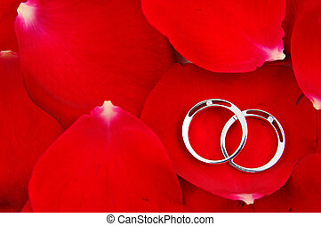 Wedding rings in red rose petals