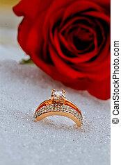 Wedding rings in Snow