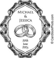 Wedding rings or bands intertwined in a vintage woodcut retro style wedding or engagement invite design