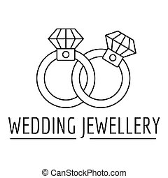 Wedding rings jewelry logo, outline style