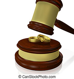 Wedding Rings Judge Gavel Mallet