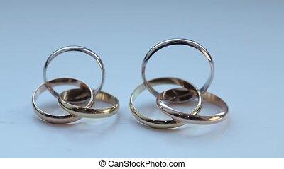Wedding Rings macro closeup Gold diamon Jewellery -...