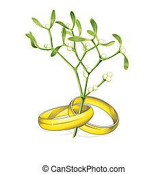 wedding rings mistletoe