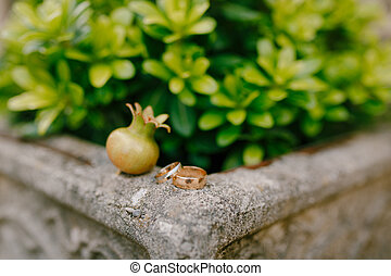 Wedding rings of the bride and groom on a stone border against a background of green plants and a small pomegranate fruit.