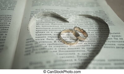 wedding rings on a book page.