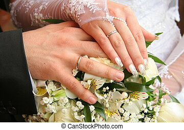 Wedding rings on a palm