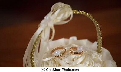 Wedding rings on box