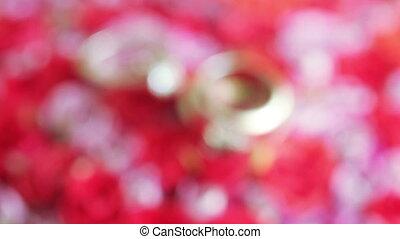 Wedding rings on flowers - Rasfokus on wedding rings lying...