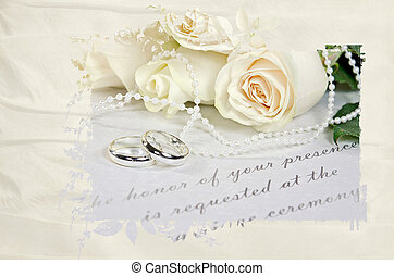 wedding rings on formal invitation - Wedding roses and rings...