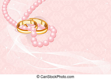 Wedding rings on pink