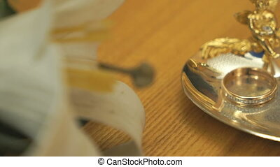 Wedding rings on the saucer in a registration hall