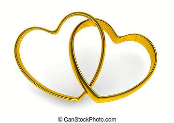 wedding rings on white background. Isolated 3D image