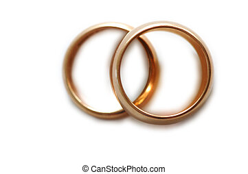 Wedding rings on white - shallow depth of field