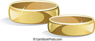 Wedding rings over white. EPS 8, AI, JPEG