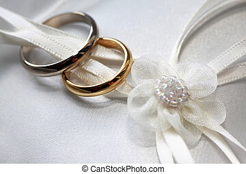Wedding rings on a blue satiny fabric