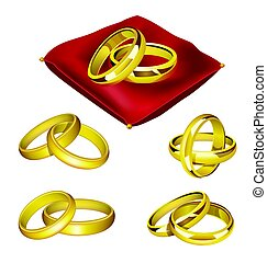 Wedding Rings - realistic vector set of objects