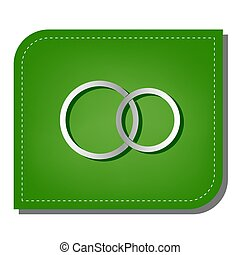 Wedding rings sign. Silver gradient line icon with dark green shadow at ecological patched green leaf. Illustration.