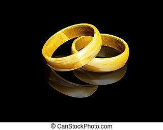 Wedding rings - 3D render of wedding rings