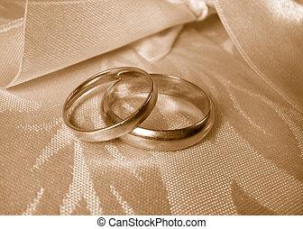 wedding rings - set of gold wedding rings in sepia tone
