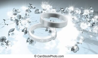 Wedding rings surrounded by flowers