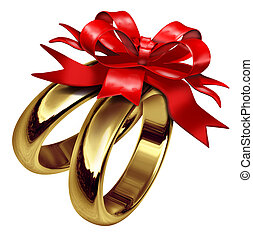 Wedding Rings Tied With A Red Bow - Wedding rings tied with...