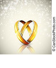 Wedding rings - Two wedding rings in shape of heart. Eps 10