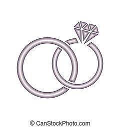 Wedding rings - Vector wedding rings icon on white...