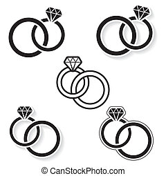 Wedding rings - Vector black wedding rings icon on white...