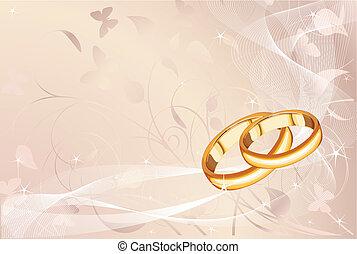 Wedding rings   - Wedding rings pastel background